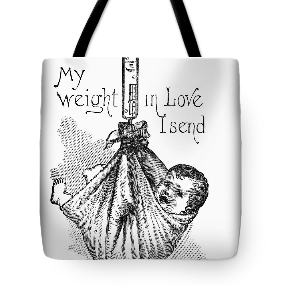 1887 Tote Bag featuring the photograph Baby Being Weighed, 1887 by Granger