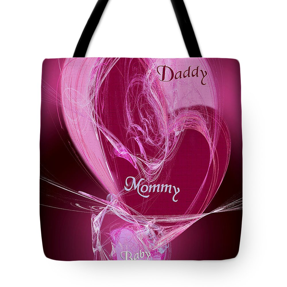 3 Tote Bag featuring the digital art Baby Makes 3 by Andee Design