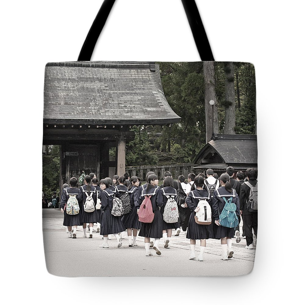 Japan Tote Bag featuring the photograph Backpacks by David Rucker