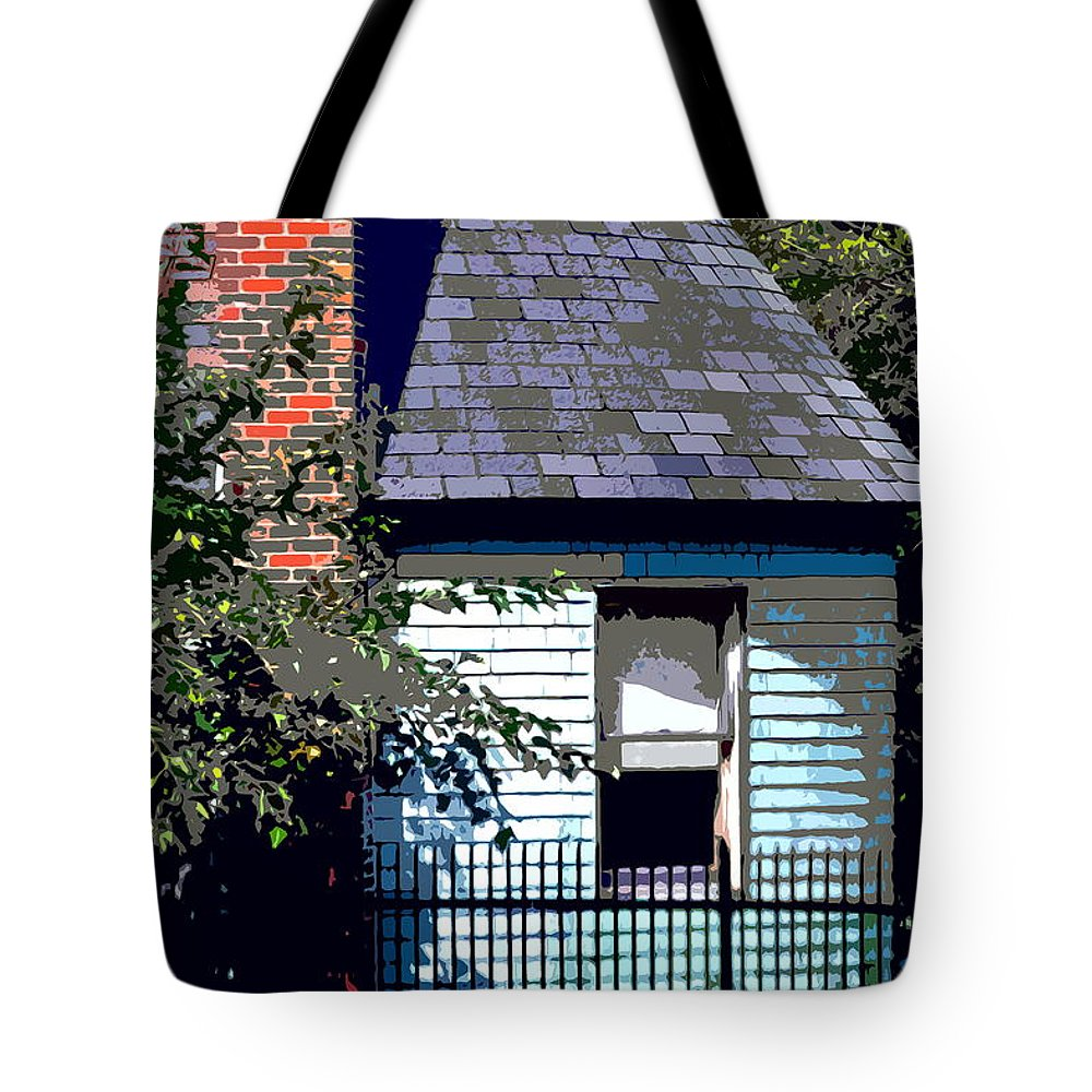 Fence Tote Bag featuring the photograph Backyard by Burney Lieberman