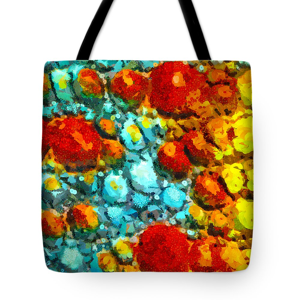 Orb Tote Bag featuring the mixed media Bacteria 4 by Angelina Vick