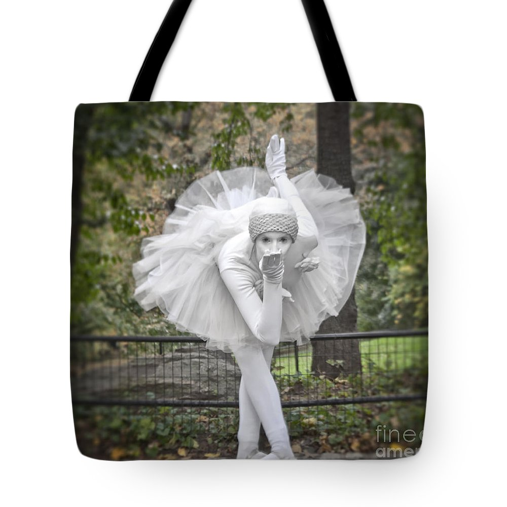 Ballerina Photography Tote Bag featuring the photograph Ballerina In The Park by Loriannah Hespe