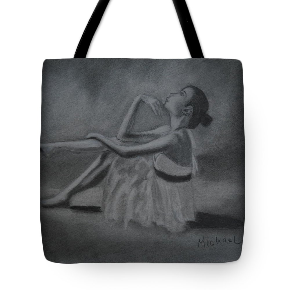 Ballerina Tote Bag featuring the drawing Ballerina by Michael Brennan