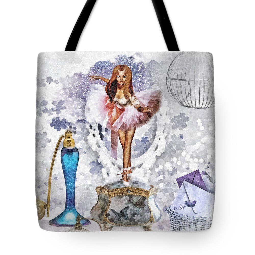 Ballerina Tote Bag featuring the mixed media Ballerina by Mo T