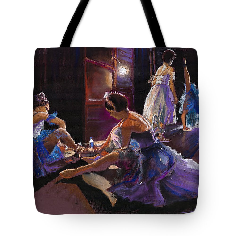 Pastel Tote Bag featuring the pastel Ballet Behind The Scenes by Yuriy Shevchuk