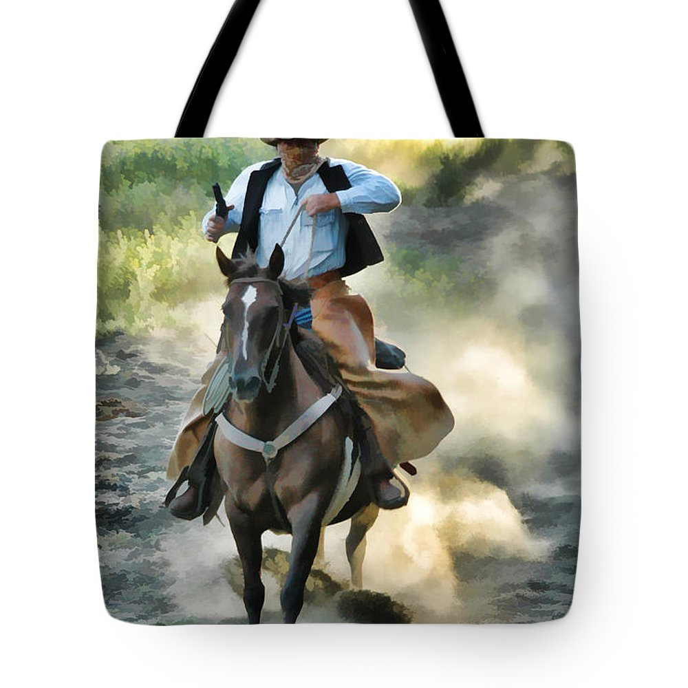 Watercolor Tote Bag featuring the painting Bandit by Dean Wittle
