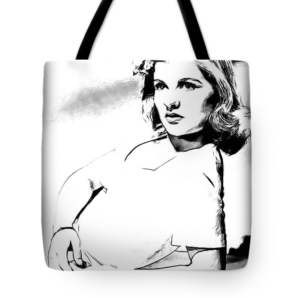 Celebrity Paintings Tote Bag featuring the painting Barbara Bel Geddes 001 by Dean Wittle