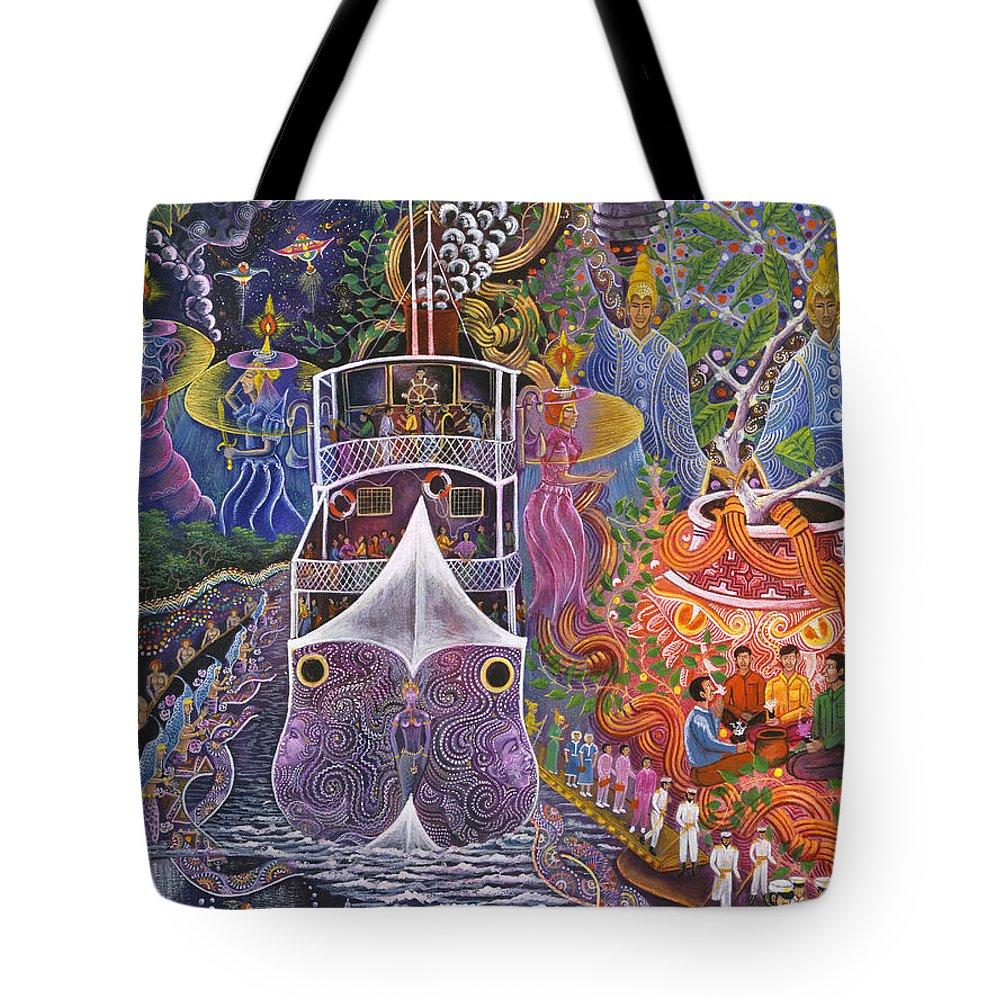 Pablo Amaringo Tote Bag featuring the painting Barco Fantasma by Pablo Amaringo