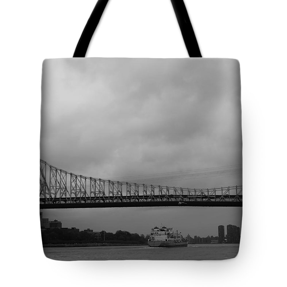 Queensboro Bridge Tote Bag featuring the photograph Barge Under The Bridge by Catie Canetti