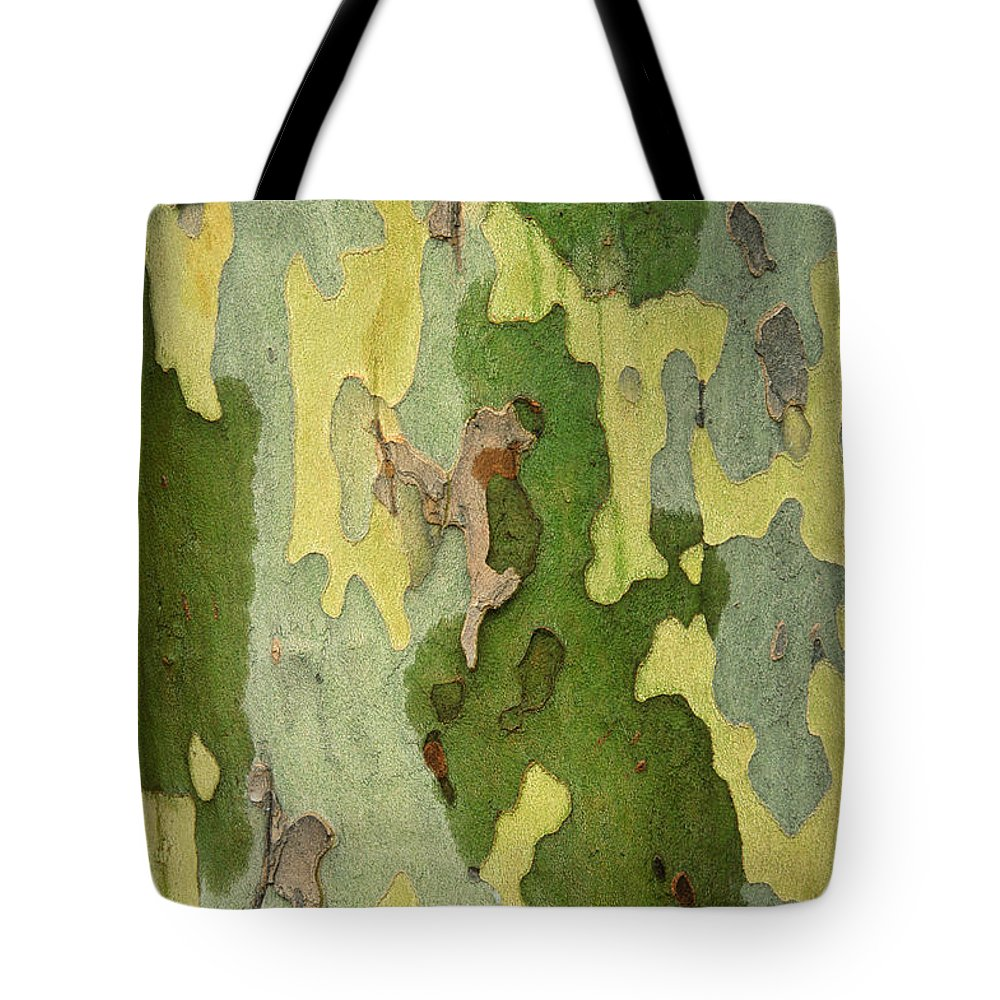 Barks Tote Bag featuring the photograph Bark Of A Sycamore Tree by Mike Grandmailson