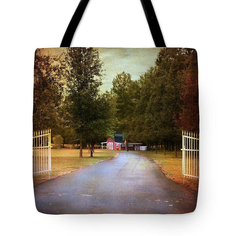 Autumn Tote Bag featuring the photograph Barn Behind The Gate by Jai Johnson