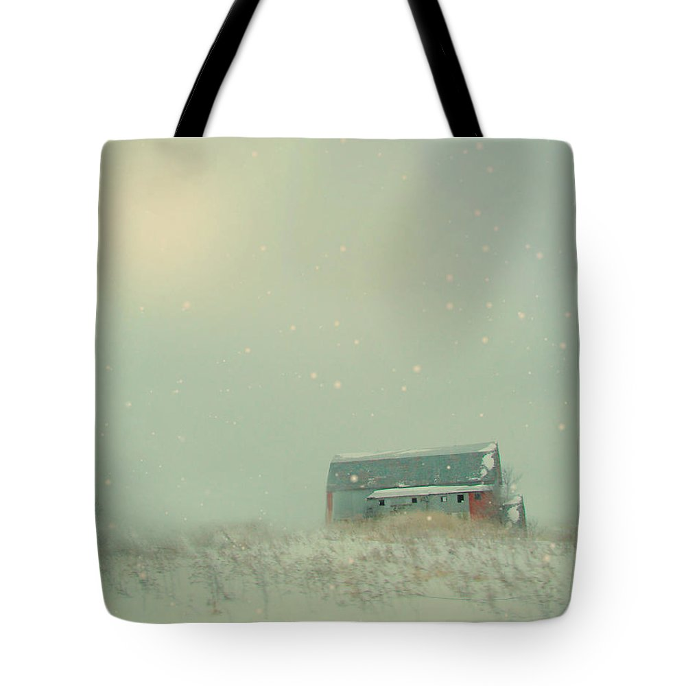 Barn Tote Bag featuring the photograph Barn In Winter by Gothicrow Images