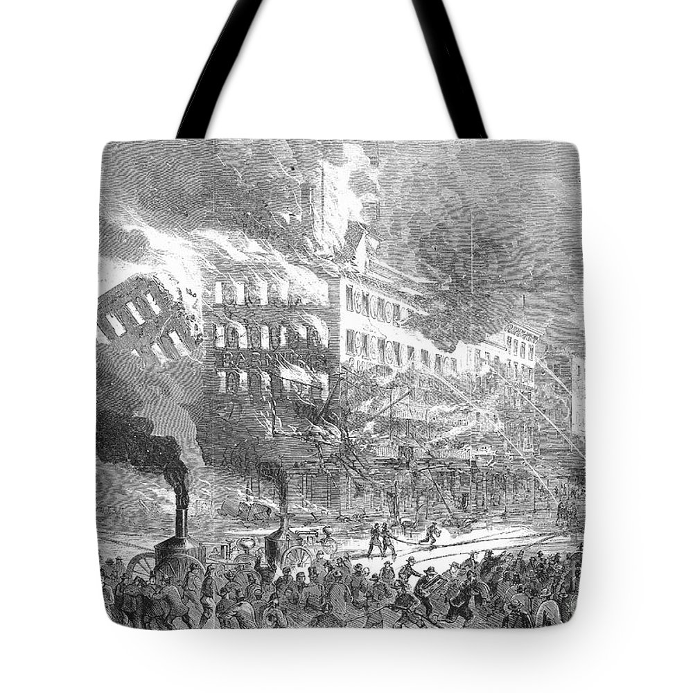 1865 Tote Bag featuring the photograph Barnums Museum Fire, 1865 by Granger