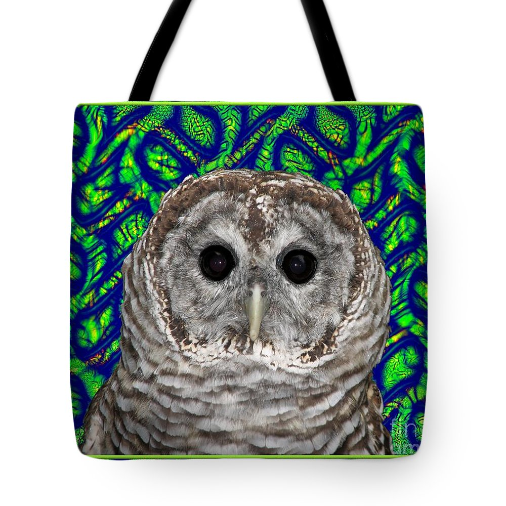 Barred Owl Tote Bag featuring the photograph Barred Owl In A Fractal Tree by Rose Santuci-Sofranko