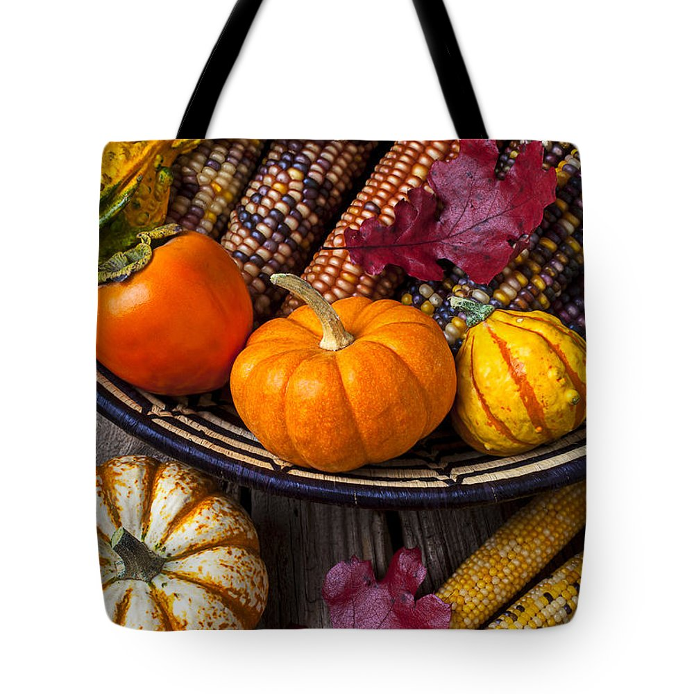 Gourd Tote Bag featuring the photograph Basketful Of Autumn by Garry Gay