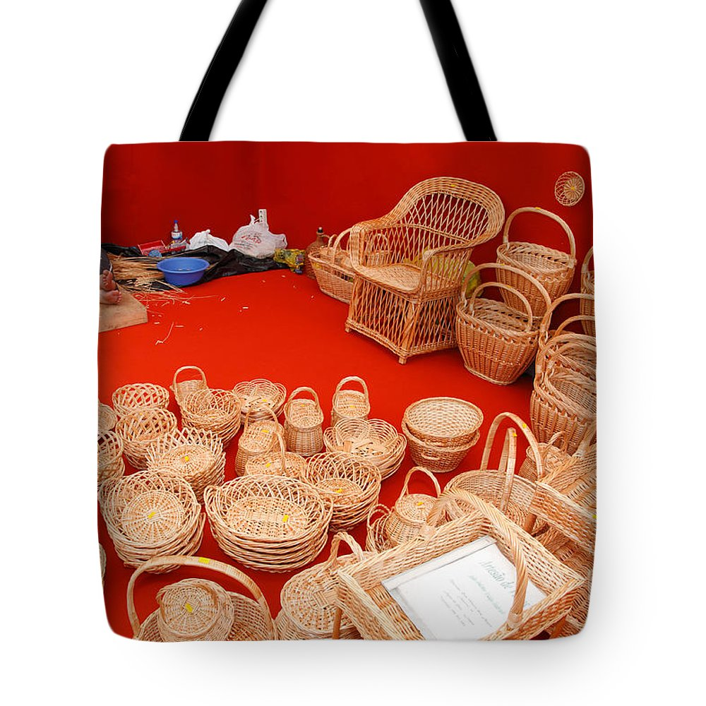 Wickerwork Tote Bag featuring the photograph Basketwork by Gaspar Avila