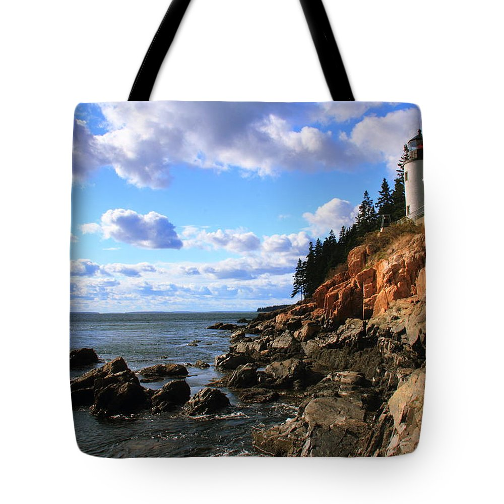 Bass Harbor Head Tote Bag featuring the photograph Bass Harbor Head Seascape by Roupen Baker