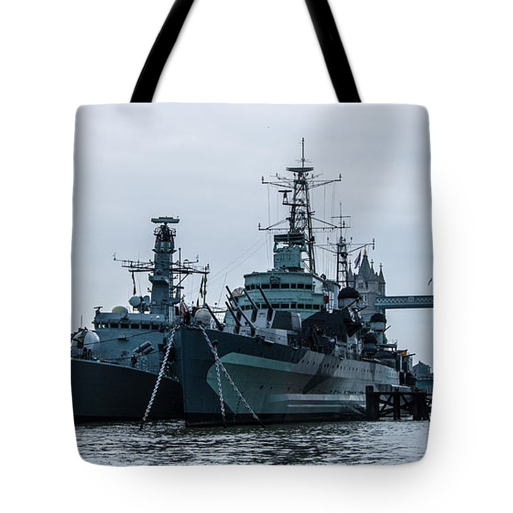 Hms St. Albans Tote Bag featuring the photograph Battleship At Tower Bridge by Dawn OConnor