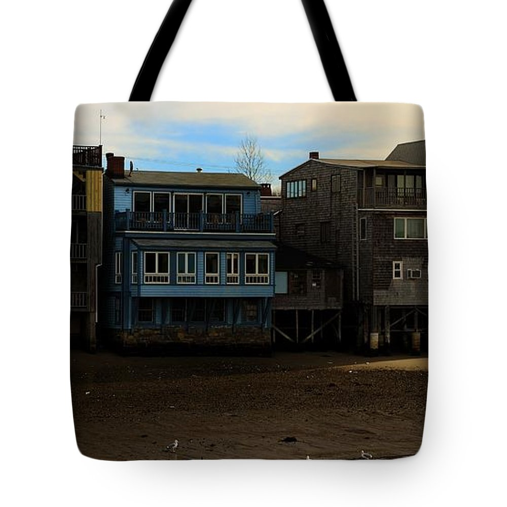 Rockport Tote Bag featuring the photograph Beach Buildings - Greeting Card by Mark Valentine