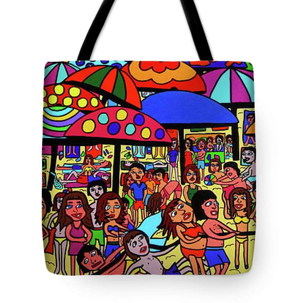 Karen Elzinga Art Tote Bag featuring the painting Beach Party by Karen Elzinga