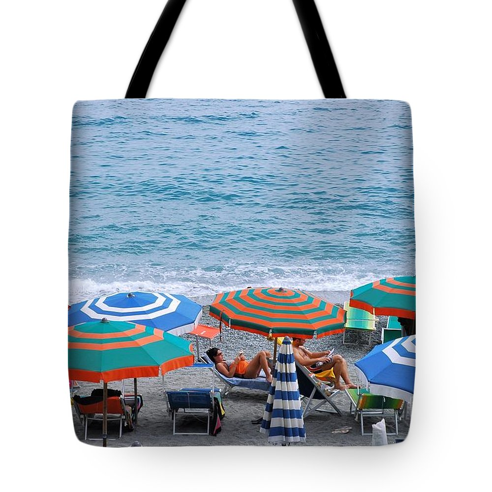 Italy Tote Bag featuring the photograph Beach Umbrellas 2 by Allen Beatty