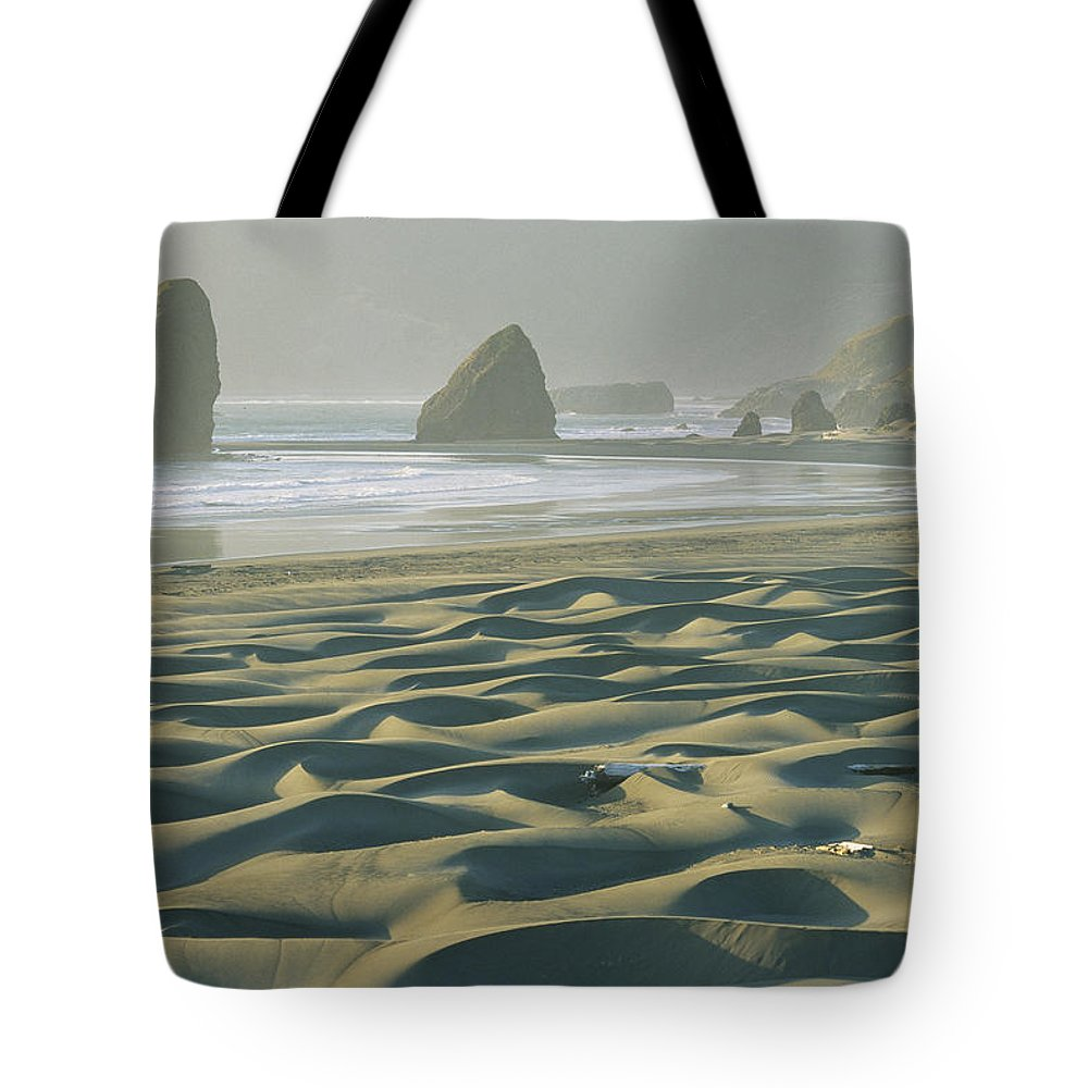 Geography Tote Bag featuring the photograph Beach With Dunes And Seastack Rocks by Skip Brown