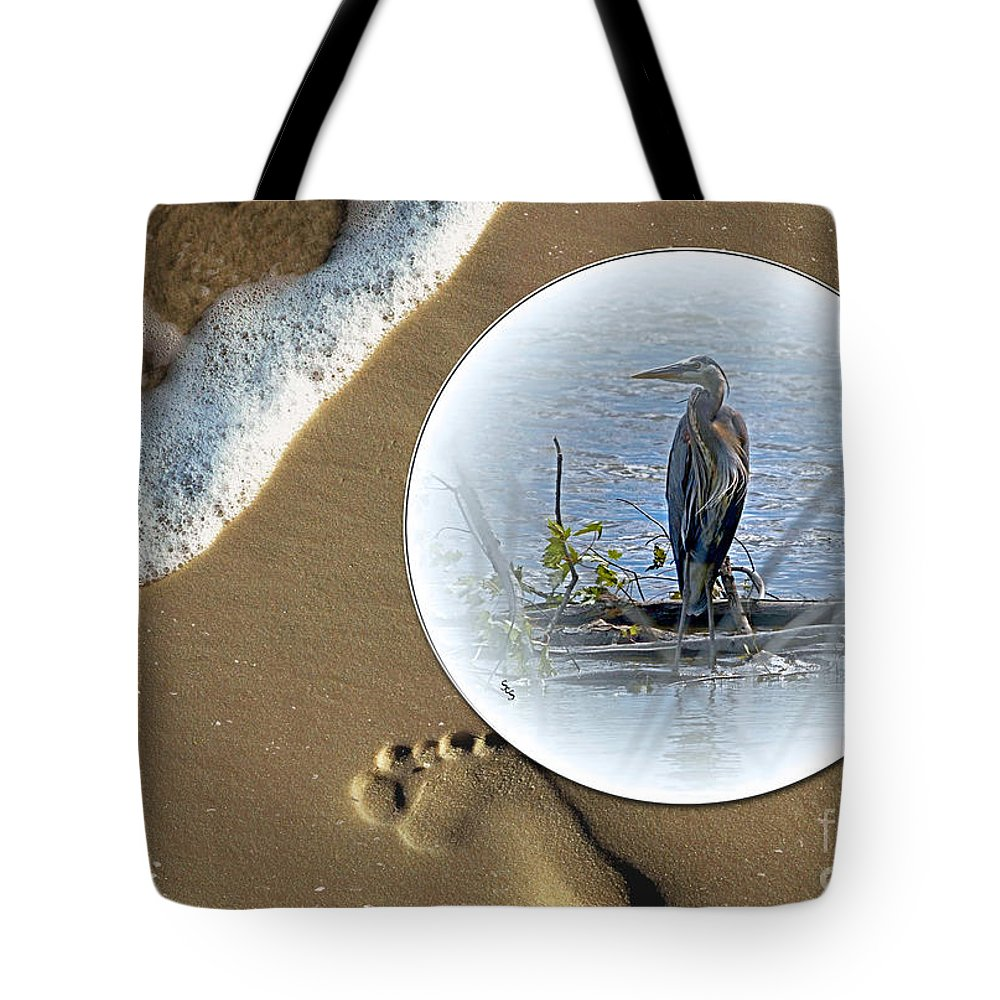 Color Photography Tote Bag featuring the photograph Beached Heron by Sue Stefanowicz