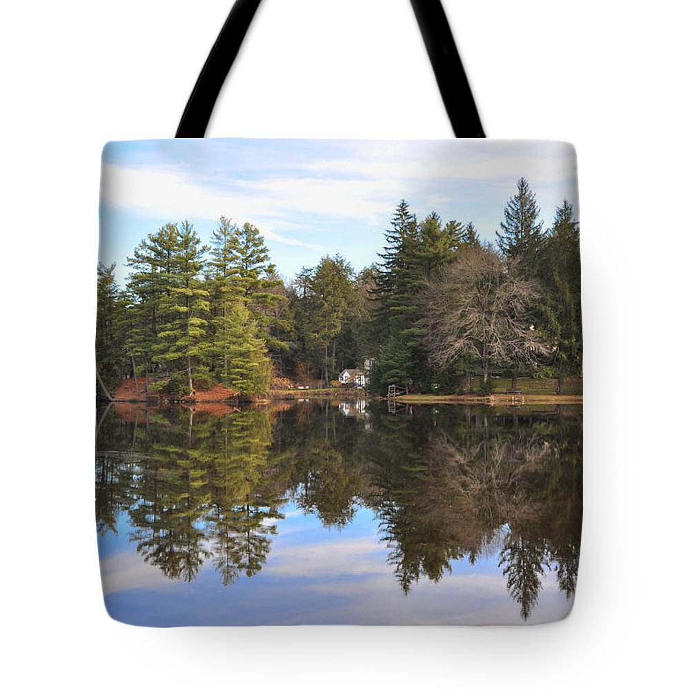 Bear Tote Bag featuring the photograph Bear Creek Lake by Bill Cannon