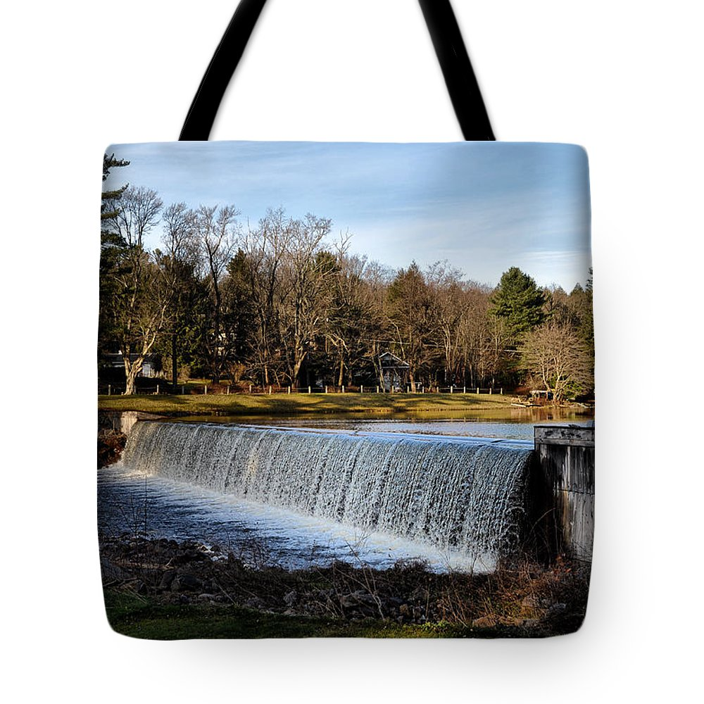 Bear Tote Bag featuring the photograph Bear Creek Lake Waterfall by Bill Cannon