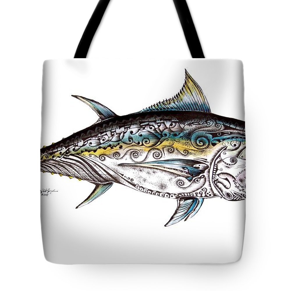 Blue Fin Tote Bag featuring the painting Beautiful Blue Fin by J Vincent Scarpace