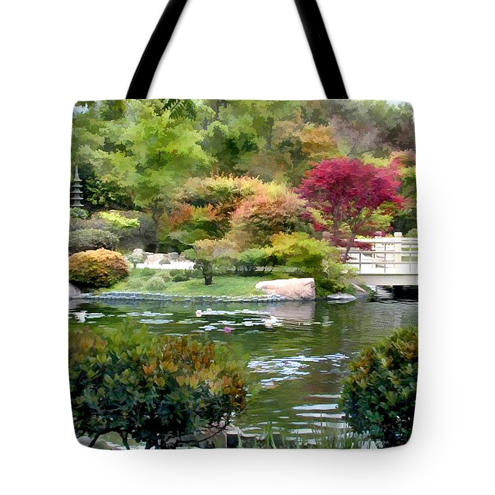 Japanese Garden Tote Bag featuring the painting Beautiful View by Elaine Plesser