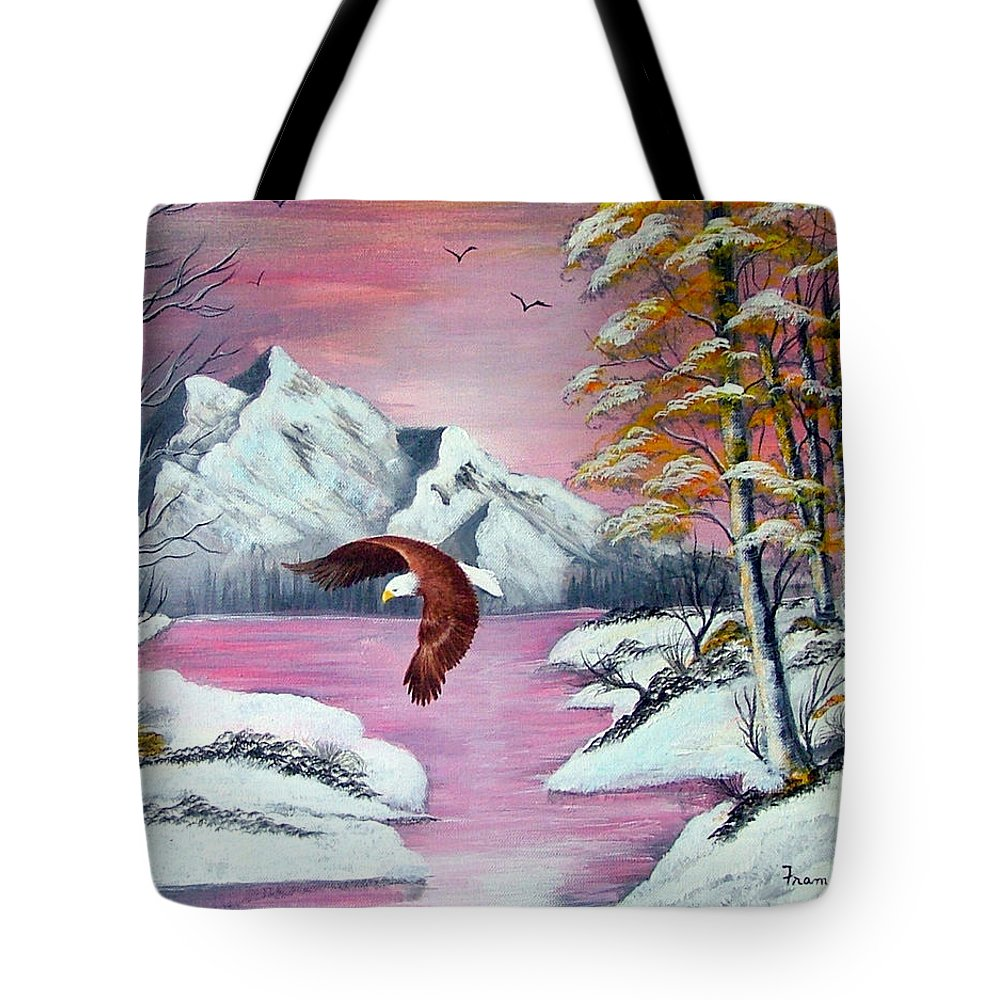 Landscape--eagle--nature Tote Bag featuring the painting Beauty And Grace by Fram Cama