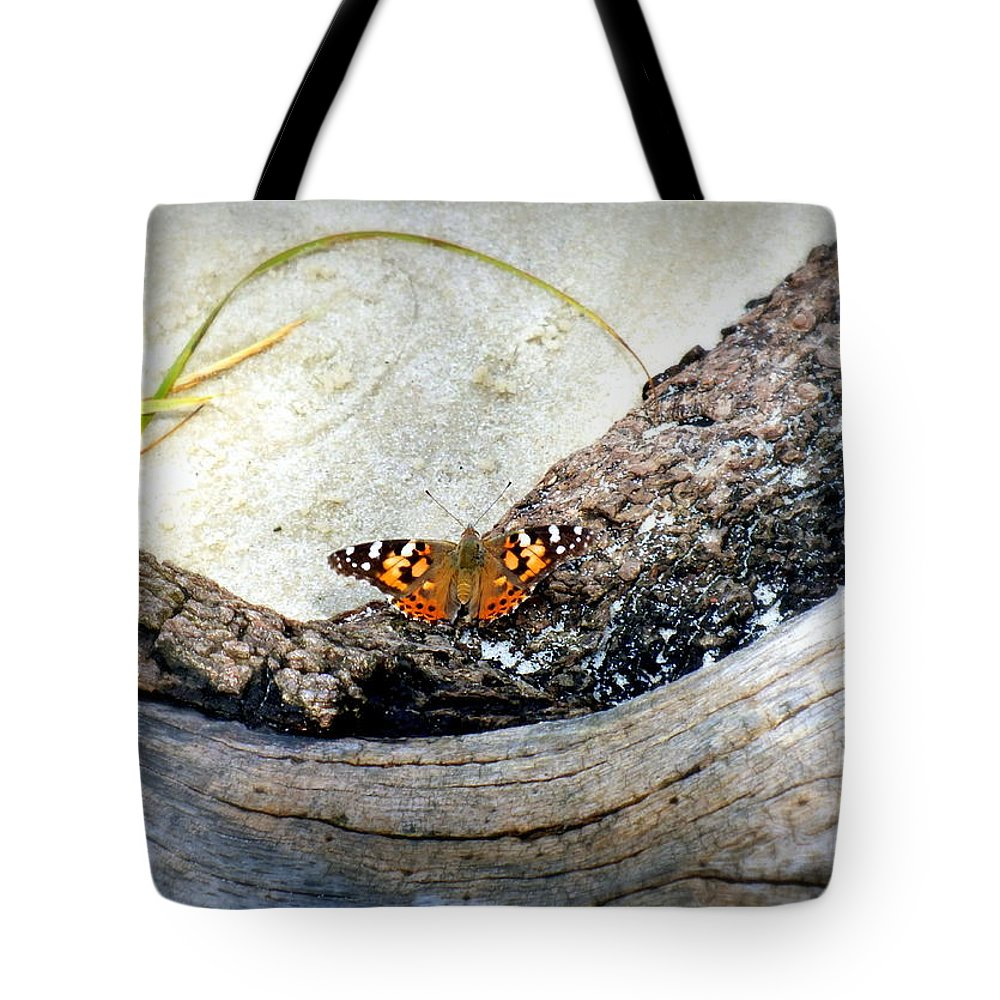 Butterfly Tote Bag featuring the photograph Beauty On The Beach by Karen Wiles