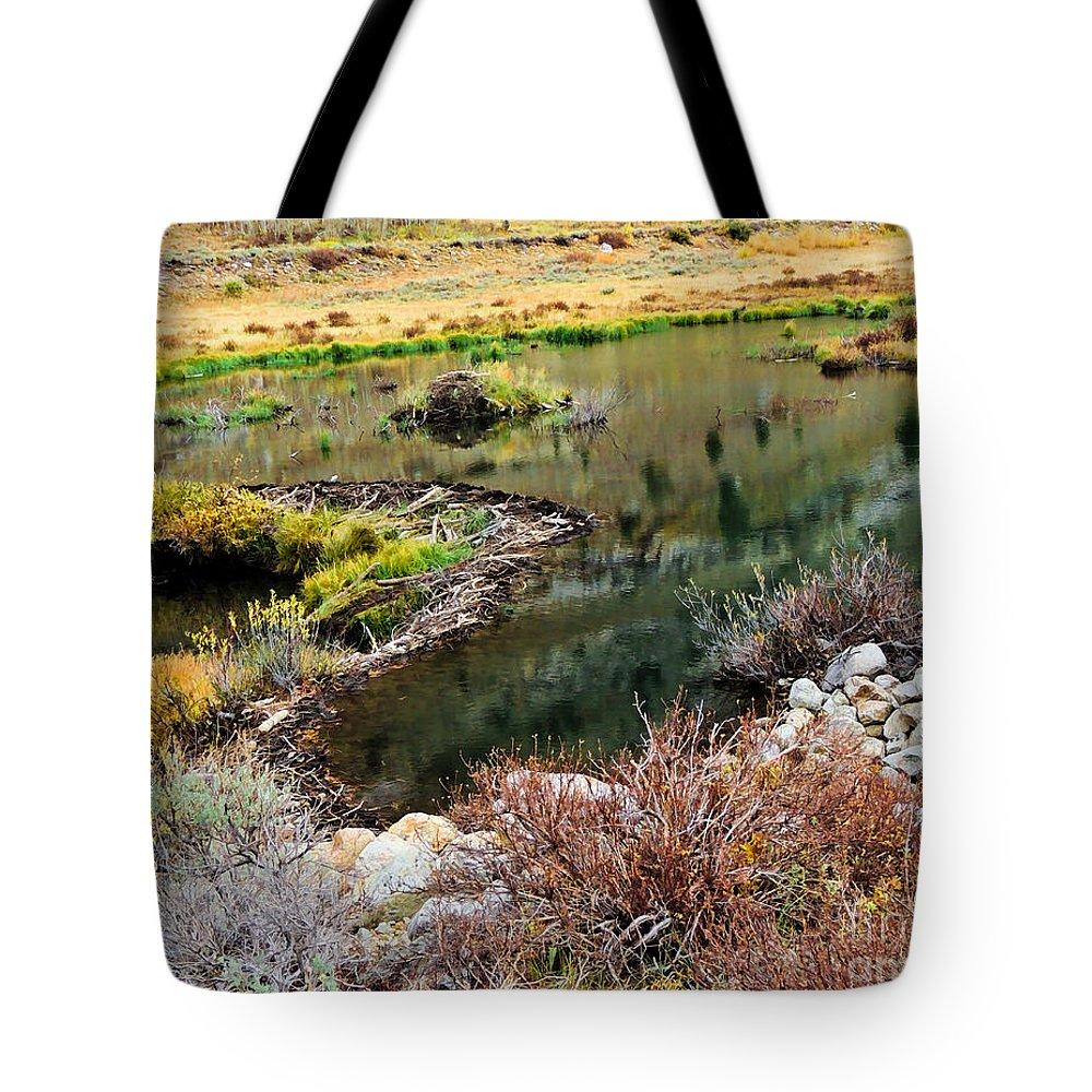 Beaver Dam Print Tote Bag featuring the digital art Beaver Dam by L J Oakes