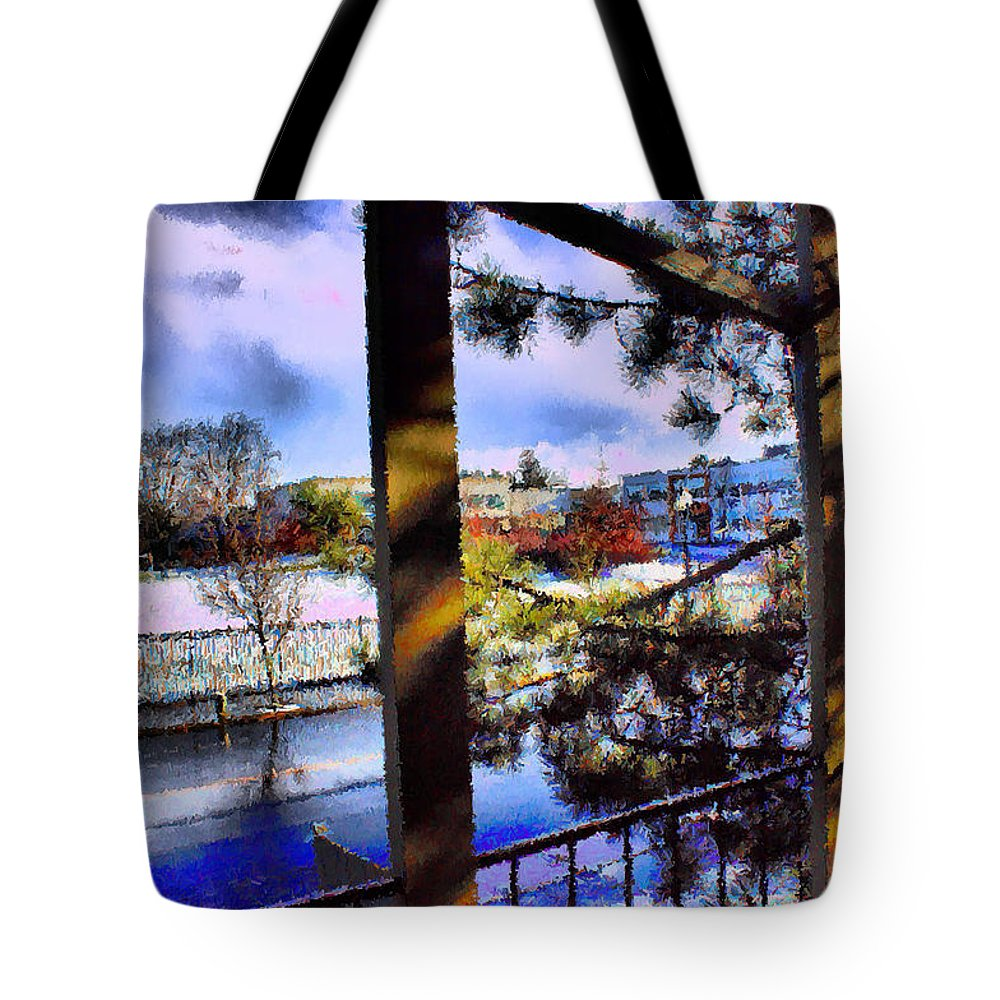 Urban Impressionism 2011 Tote Bag featuring the mixed media Beaverton H.s. Winter 2011 by Terence Morrissey