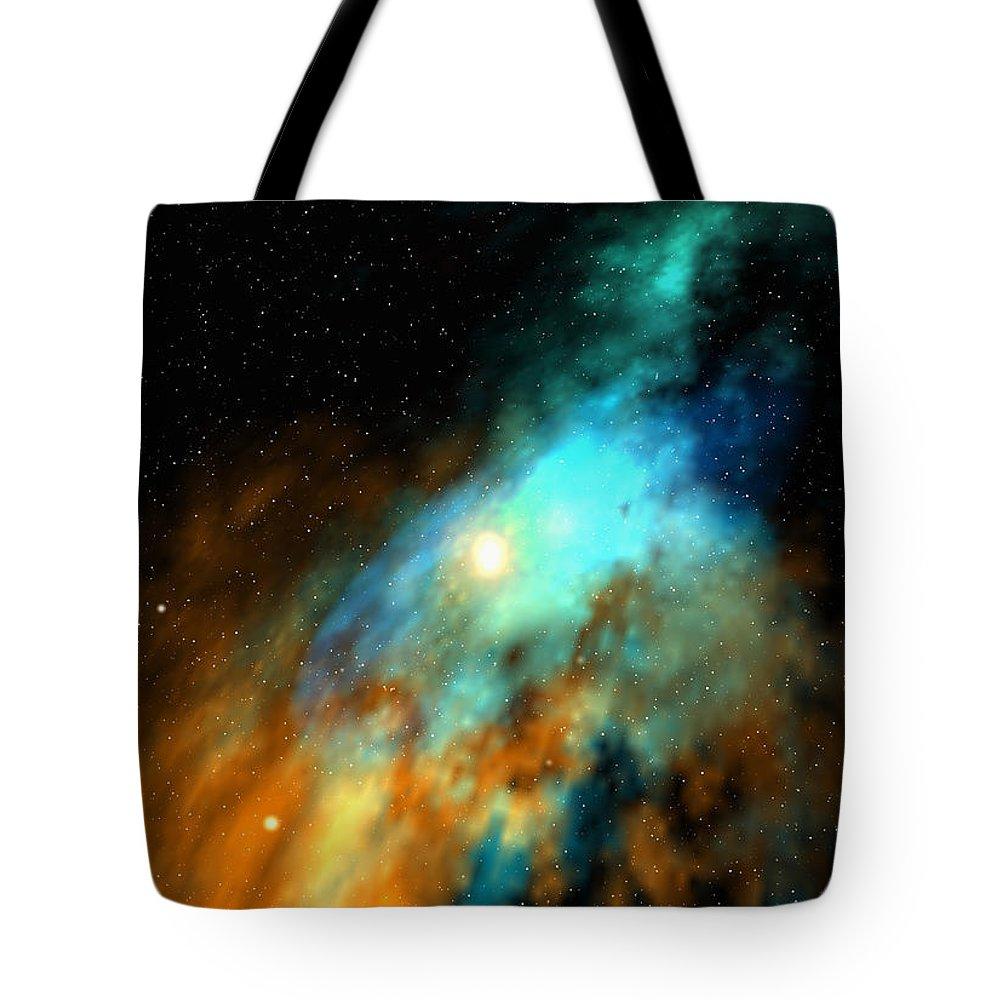 Nebula Space Art Tote Bag featuring the digital art Beducas nebula by Robert aka Bobby Ray Howle