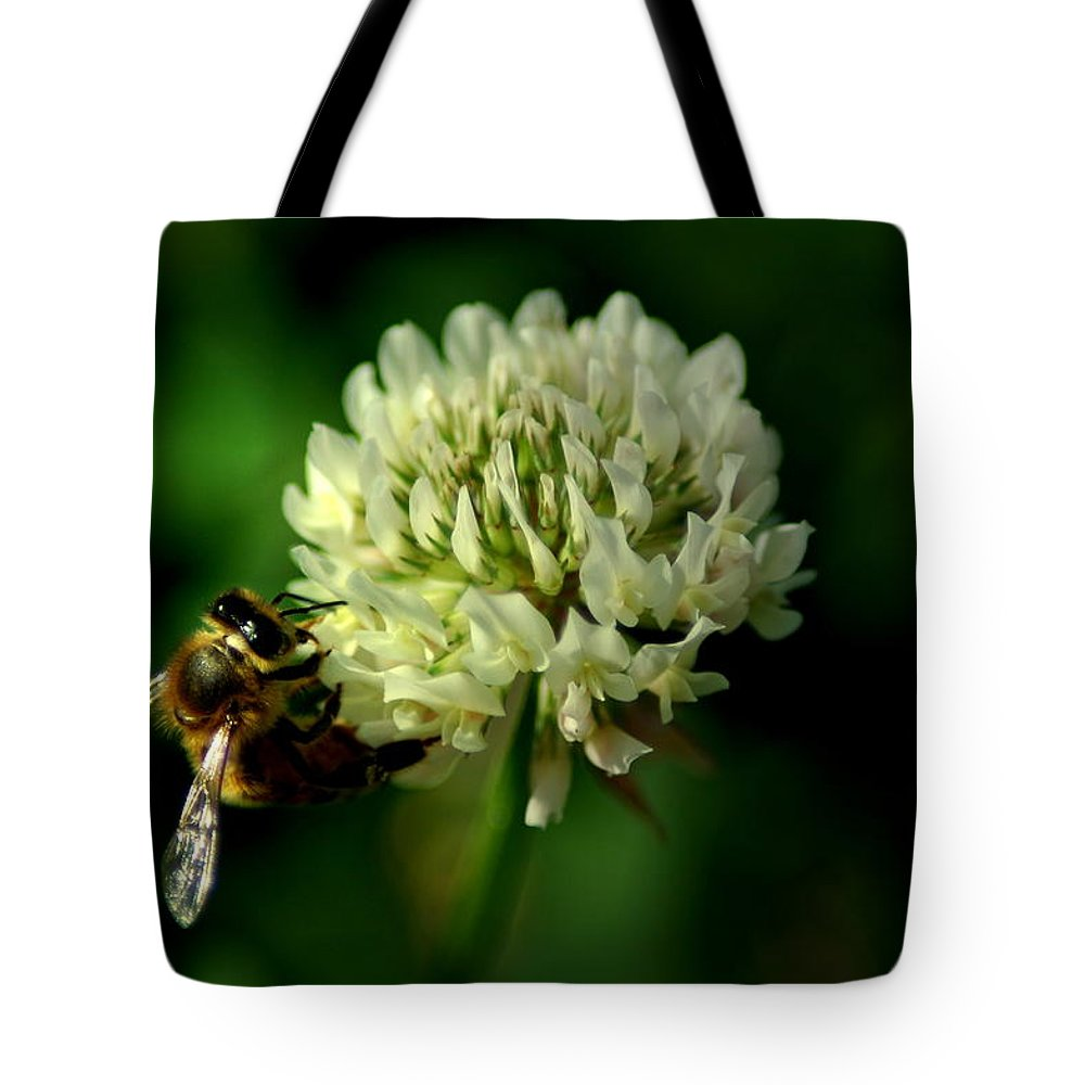 Bee Tote Bag featuring the photograph Beeflower2 by David Weeks