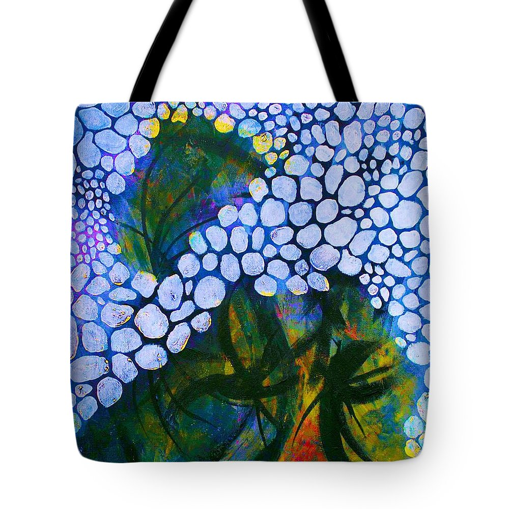 Abstract Tote Bag featuring the painting Behind The Scenes by Linda Diane Taylor
