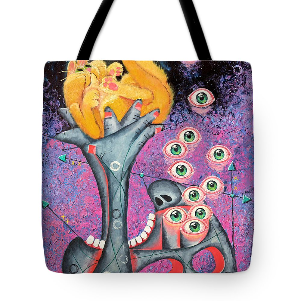 Cat Tote Bag featuring the painting Behold The Golden Kitten by Baron Dixon