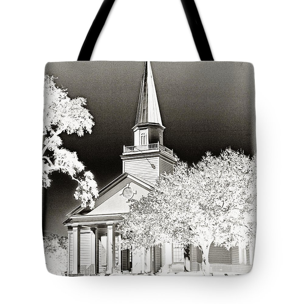 Belin Tote Bag featuring the photograph Belin Umc Black And White Sabattier by Bill Barber