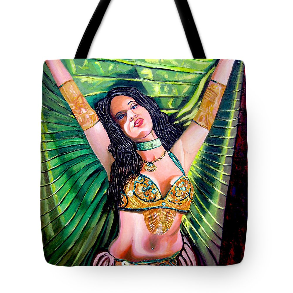 Girl Tote Bag featuring the painting Belly Dancer by Jose Manuel Abraham