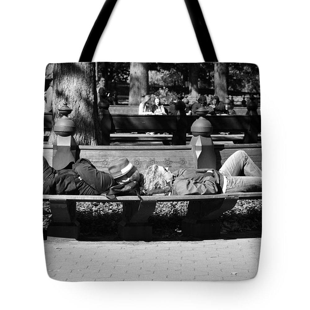 Black And White Tote Bag featuring the photograph Bench Bums In Black And White by Rob Hans