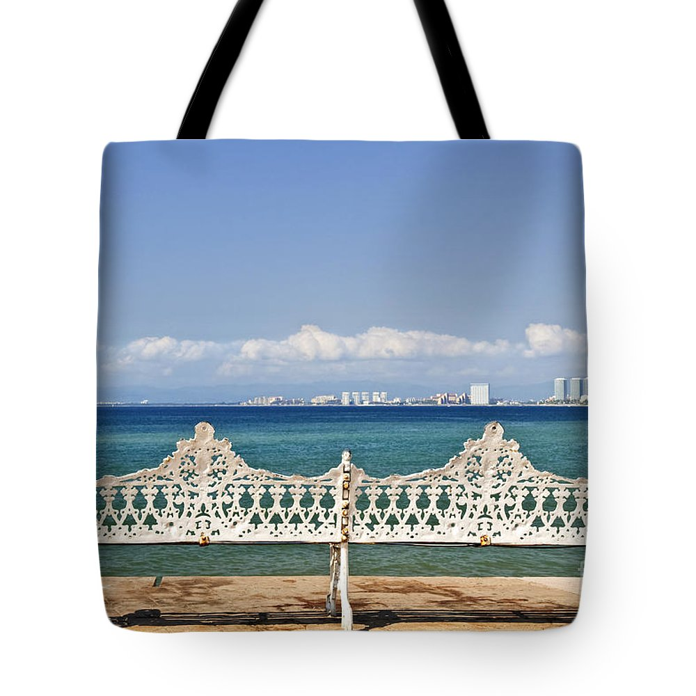 Bench Tote Bag featuring the photograph Bench On Malecon In Puerto Vallarta by Elena Elisseeva