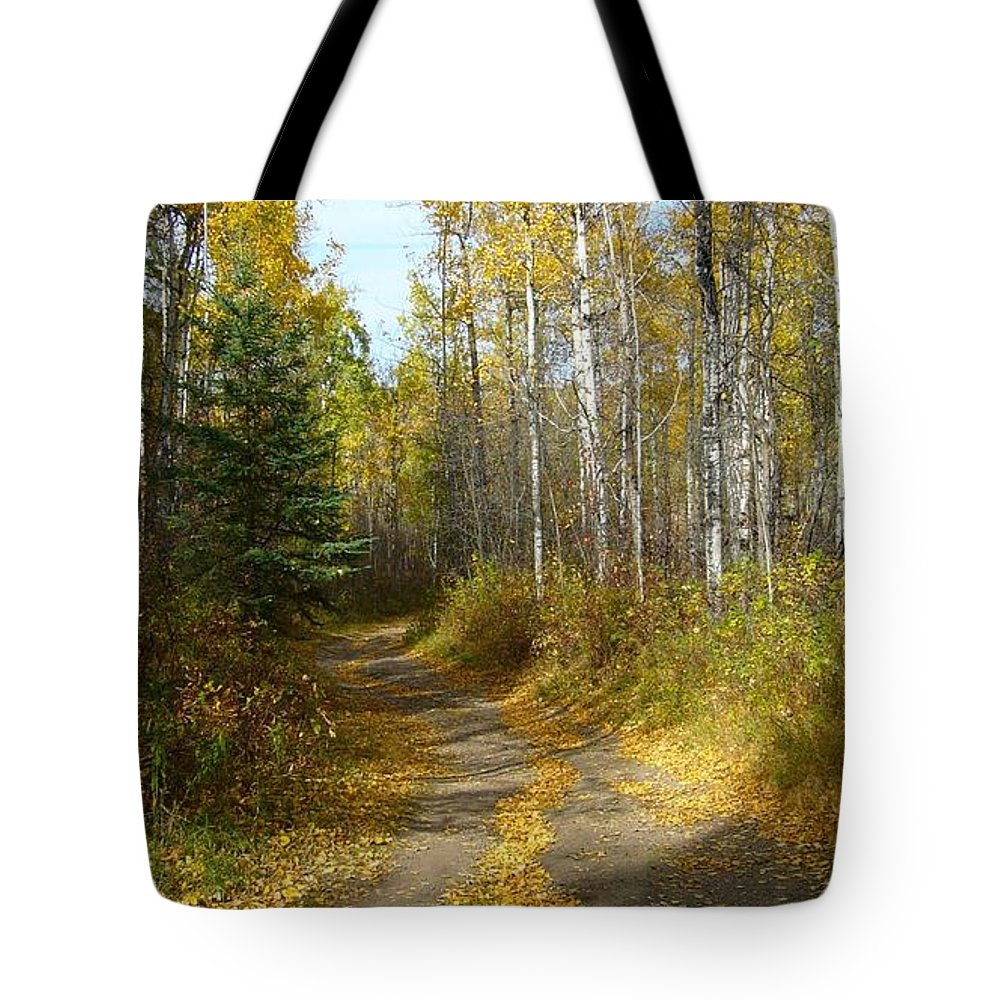 Nature Tote Bag featuring the photograph Bend In The Trail by Jim Sauchyn