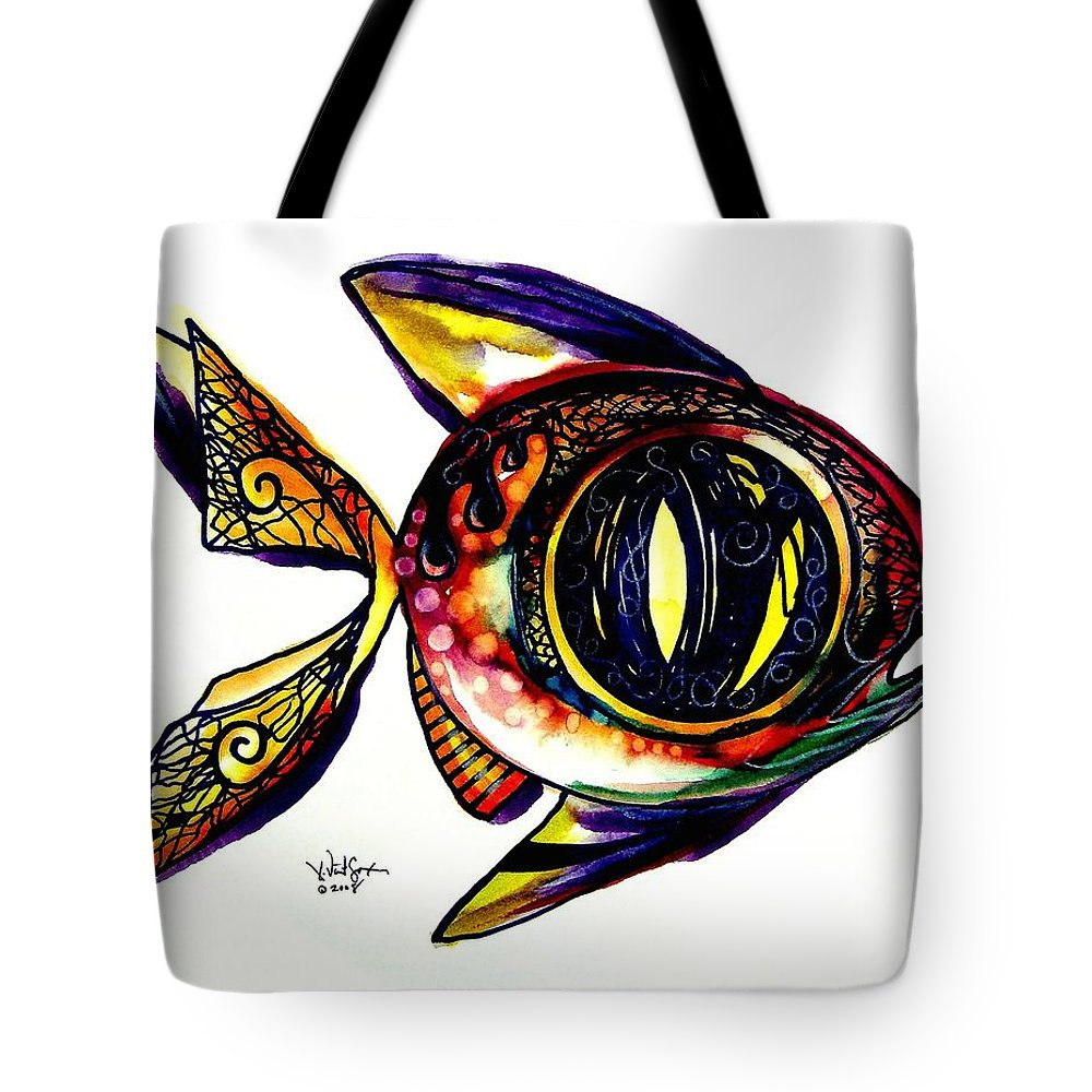 Fish Tote Bag featuring the painting Benedict The Sixteenth Fish by J Vincent Scarpace