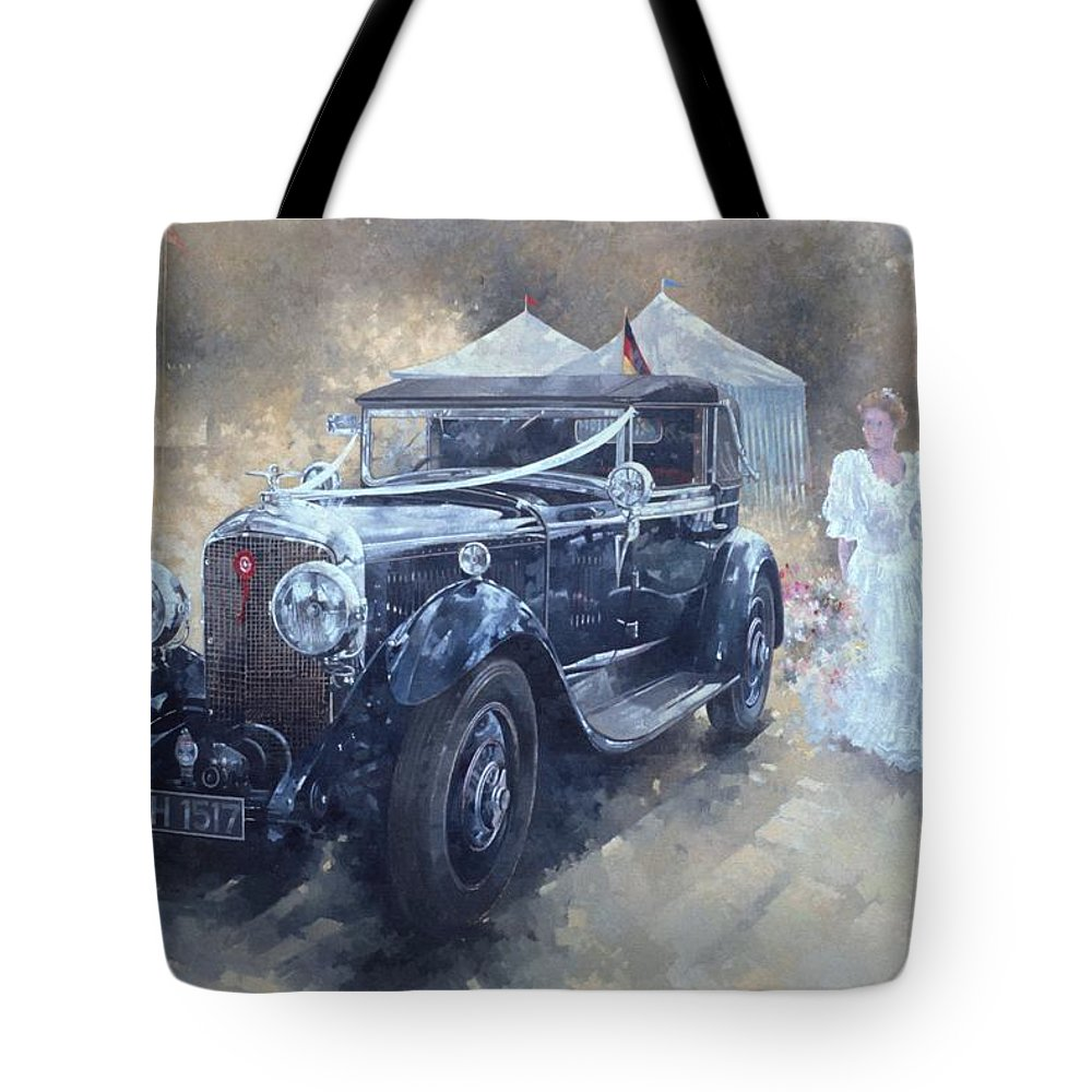 Female; Car; Wedding; Marriage; Dress; Wife; Married; Transport; Automobile; Vintage; Old Timer; Bentley Tote Bag featuring the painting Bentley And Bride by Peter Miller