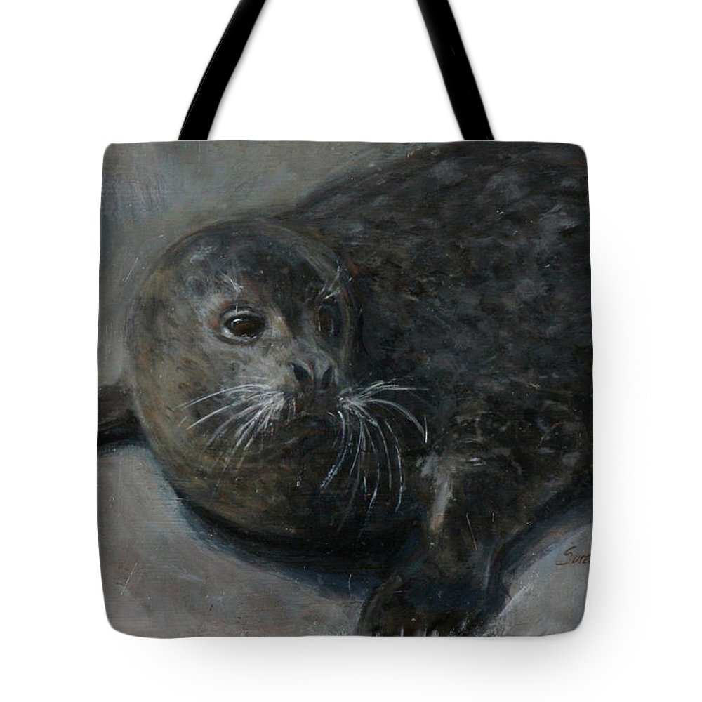 Bernie Tote Bag featuring the painting Bernie by Sarah Yuster