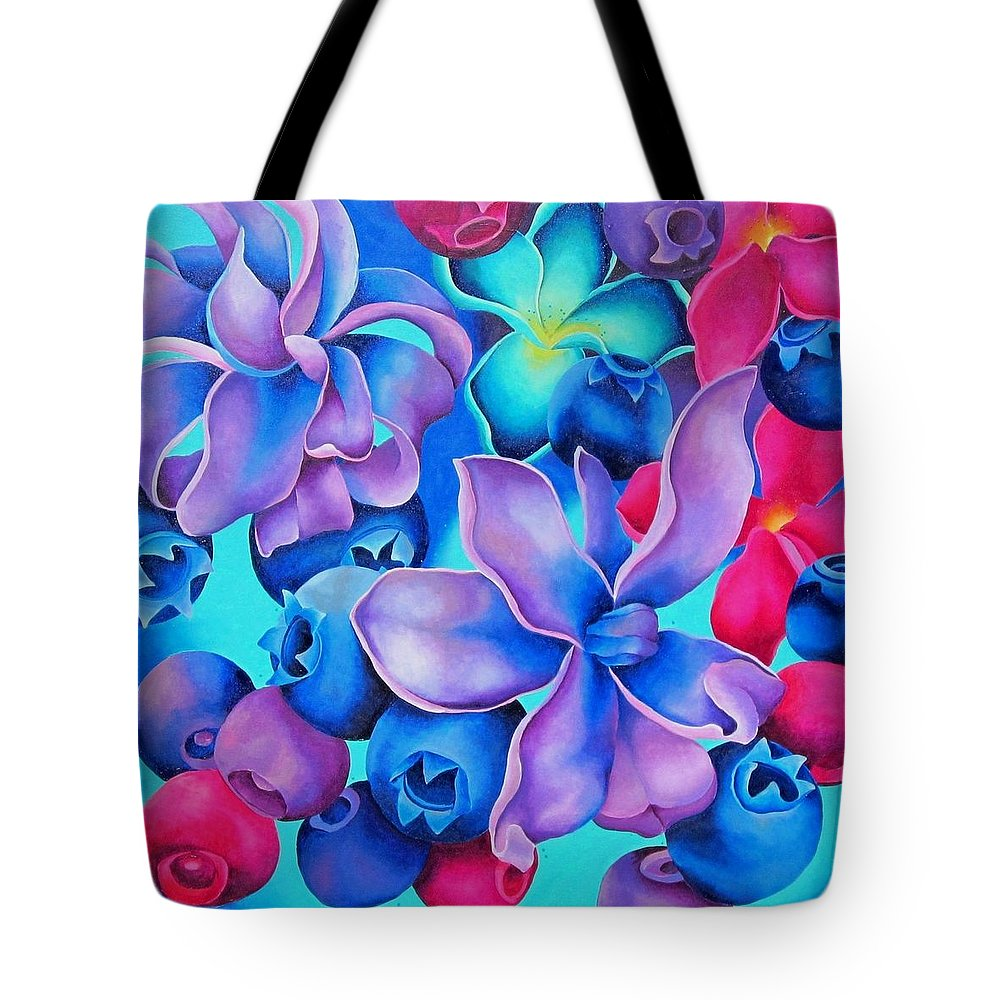 Blueberries Tote Bag featuring the painting Berry Lilac by Elizabeth Elequin