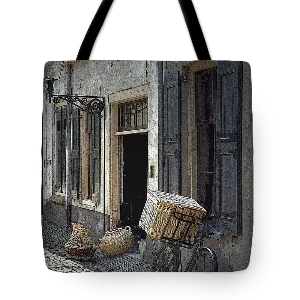 Art Tote Bag featuring the photograph Bicycle On A Street By The Zuider Zee by Randall Nyhof