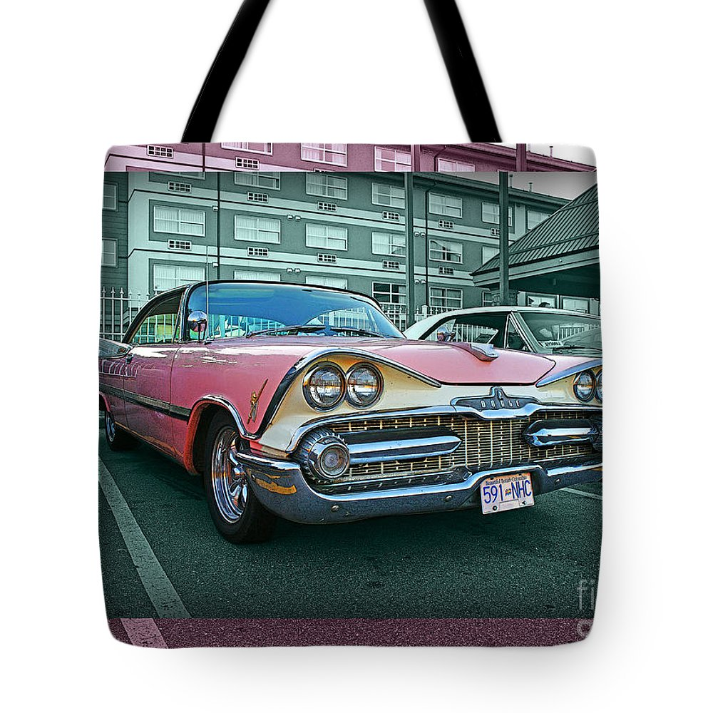 Old Cars Tote Bag featuring the photograph Big Pink Dodge by Randy Harris